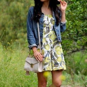 topshop 🍋 lemon printed strapless dress